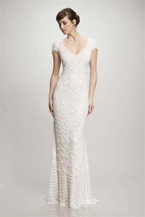 art deco wedding dress sheath with beading by Theia