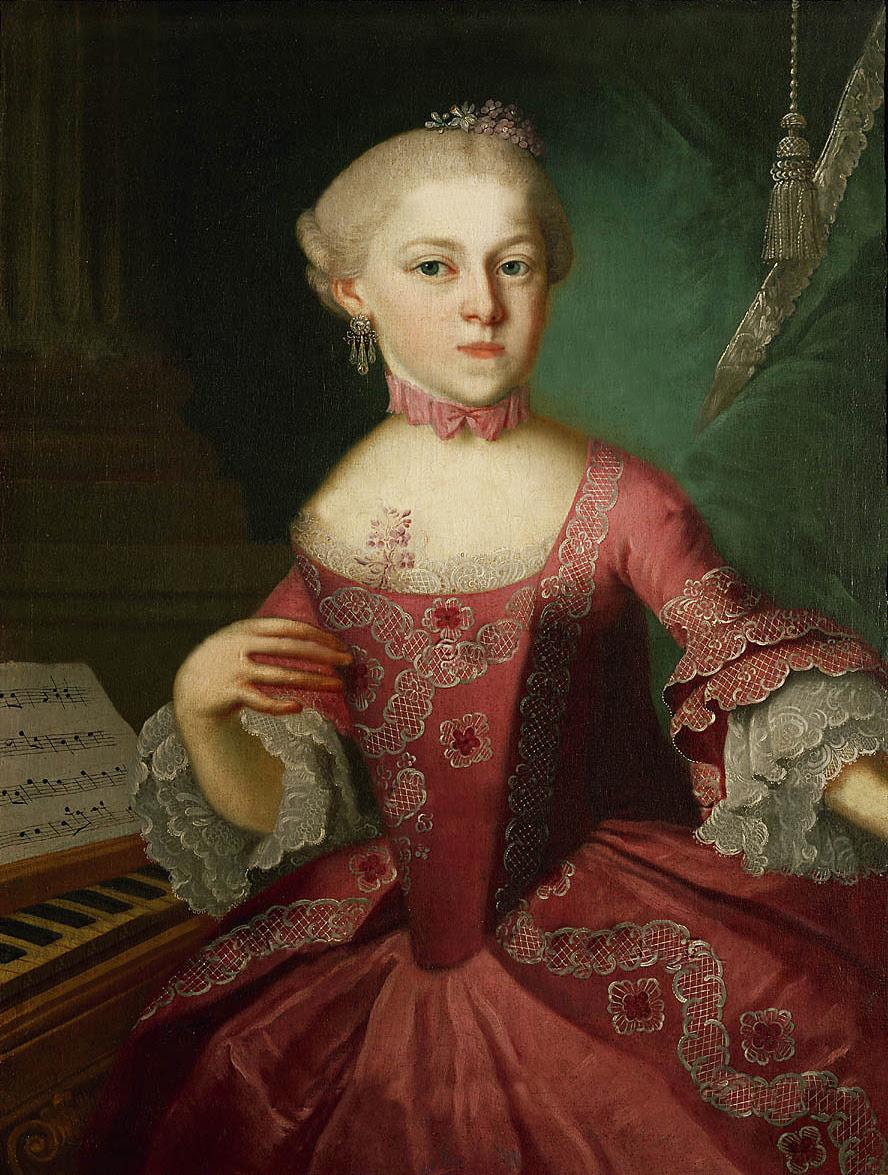 Portrait of Anna Maria Mozart by Pietro Antonio Lorenzoni