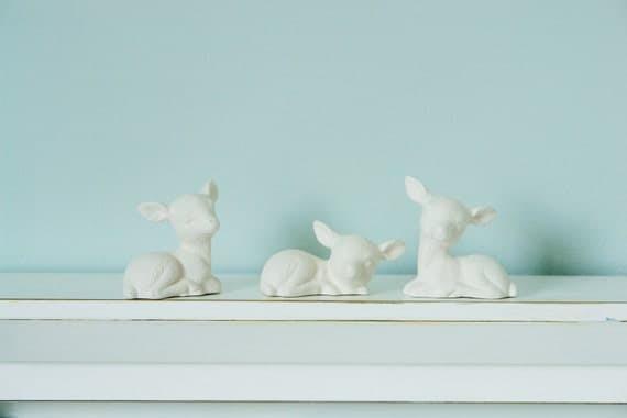 Porcelain Deer Set - Small Unglazed White Woodland Deer