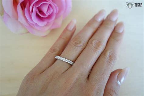 10 Stone Anniversary Ring, Half Eternity Wedding Band, 2/3