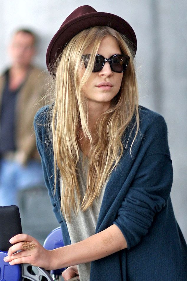 Le Fashion Blog -- Airport Look: Clemence Poesy -- Parisian Casual In Burgundy Hat, Cat Eye Sunglasses & Teal Cardigan -- photo Le-Fashion-Blog-Airport-Look-Clemence-Poesy-Parisian-Casual-Burgundy-Hat-Cat-Eye-Sunglasses-Teal-Cardigan.jpg