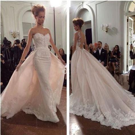 Detachable Lace Mermaid Wedding Dress Bridal Gown Custom