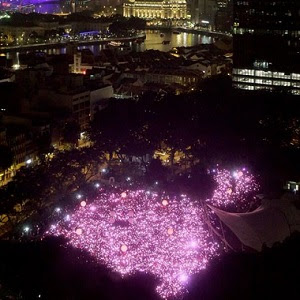 Participants lit up Singapore with pink lights (Image: Facebook)