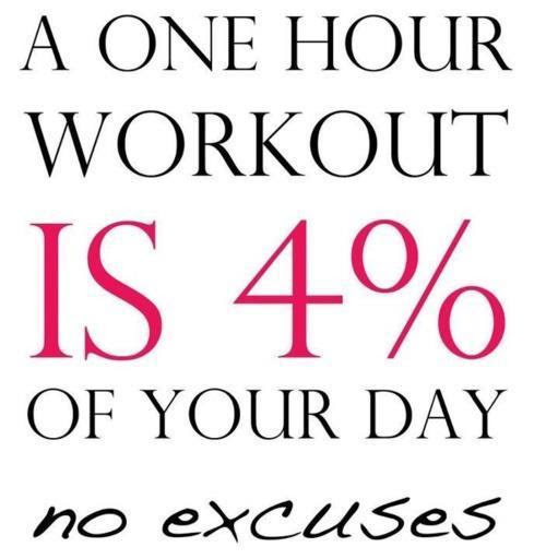 A One Hour Workout Is 4 Of Your Day No Excuses Picture Quotes