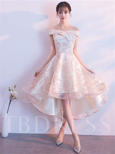 Off the Shoulder Lace High Low Bridesmaid Dress   Tbdress.com