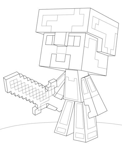 Coloriage Steve De Minecraft Avec Une Armure De Diamant