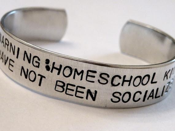 Stamped Warning Homeschool Kid Socialized Custom Silver Metal Cuff Bracelet