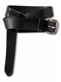 Women: Leather foldover belt - Black