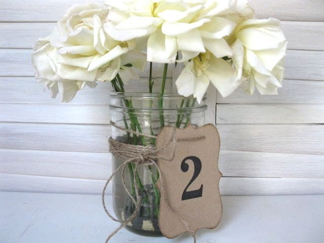 Wedding TABLE NUMBERS - wedding decor. table numbers 1 - 10 - Rustic Elegance