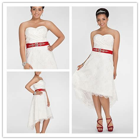 Off The Shoulder Short Front Long Back Lace White Red