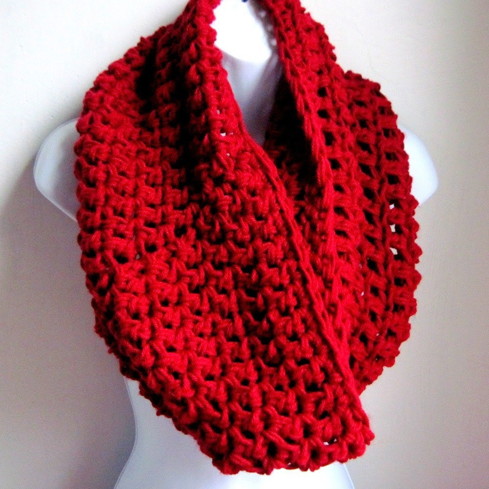 """Cowl Bordeaux  Red Infinity Scarf-  Extra Large Chunky Scarf   """"Buy one get one 50% off lowest price"""""""