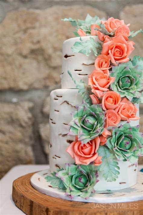 Wedding cake, birch wood with coral roses   cute