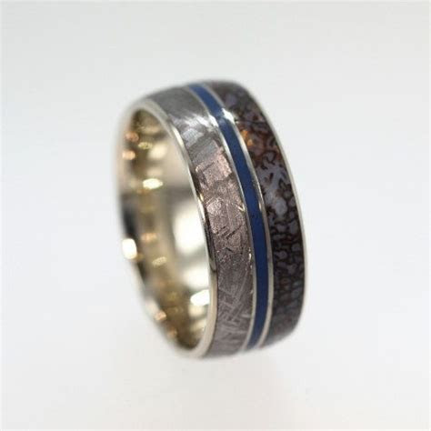 Dinosaur Bone Ring, Gibeon Meteorite Wedding Band with