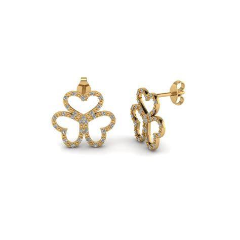 Hibiscus Round Flower Diamond Stud Earring In 14K Rose