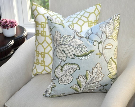P Kaufmann Leaf Cloud Pillow Cover -- 18x18 -- Blue/Green/Gray -- Zipper Closure