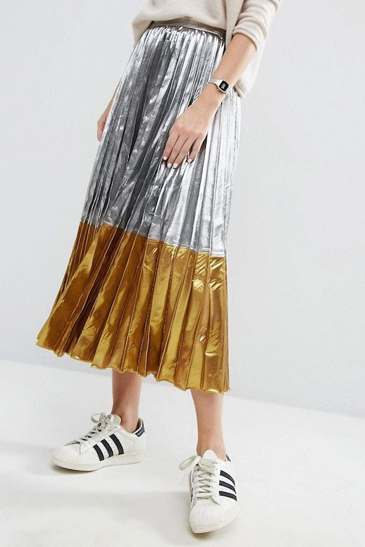 Le Fashion Blog Fall Style Under 100 Budget Beige Sweater Silver Watch White Nails Two Tone Metallic Pleated Skirt Adidas Sneakers Via ASOS