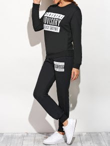 Graphic Sweatshirt and Drawstring Sports Pants