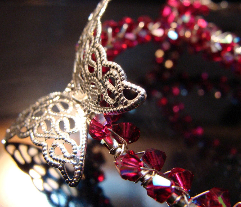 RUBY CRYSTAL BUTTERFLIES (hoop earrings - swarovski crystal)