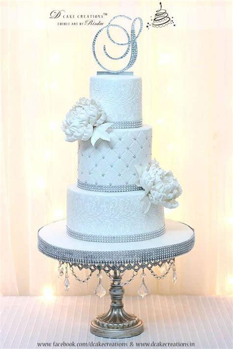 White Bling Wedding Cake   CakeCentral.com