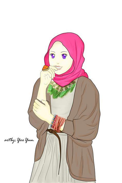 gambar kartun muslimah cantik terbaru  gambar kartun