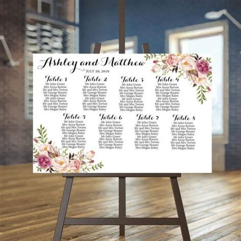 Wedding Seating Chart Printable, Rustic Guests List