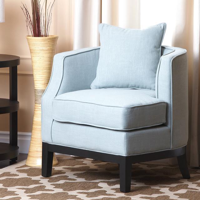 Abbyson Living Eve Blue Fabric Corner Chair  Contemporary