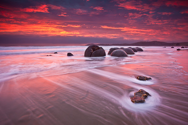 Sunrise Over The Moeraki Boulders