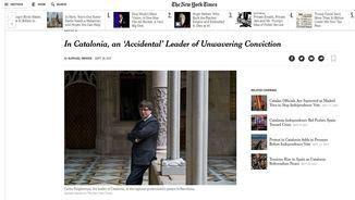 """""""The New York Times"""" entrevista Puigdemont l'últim dia de la campanya de l'1-O"""