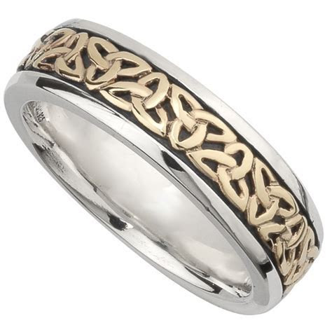 Irish Wedding Band   10k Gold and Sterling Silver Ladies