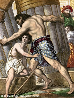 The Israelite hero Samson, having been betrayed by Delilah and taken prisoner and blinded by the Philistines, regains his strength and brings the Temple of Dagon