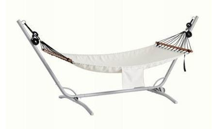The hammock stand is easy to move since it has a wheel on one side Ikea fredon