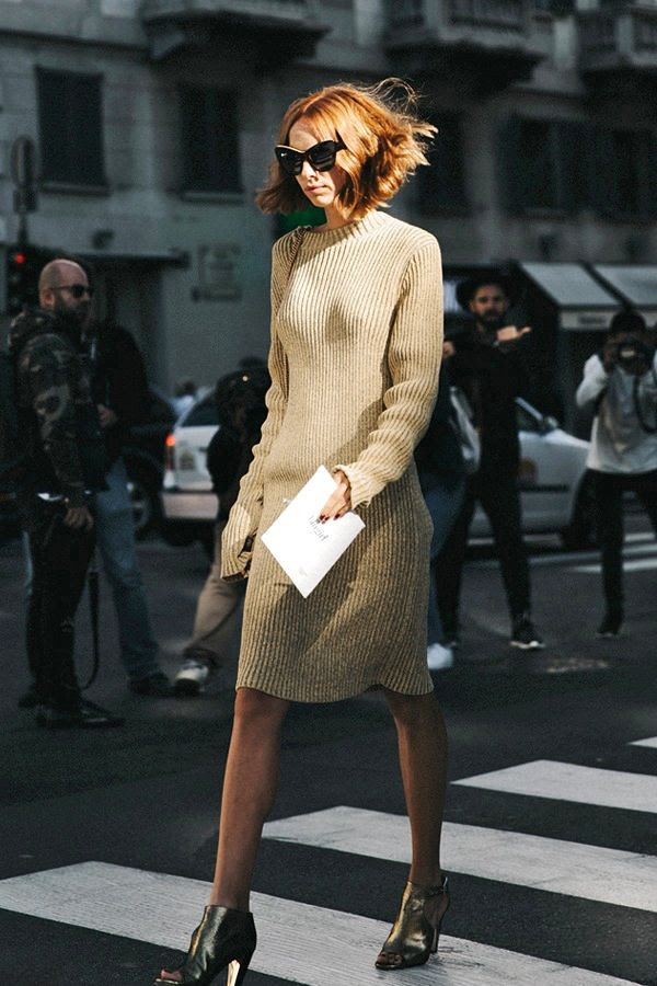 Le Fashion Blog Street Style Mfw Candela Novembre Red Wavy Bob Black Cat Eye Sunglasses Beige Ribbed Sweater Dress Metallic Sandals Via Collage Vintage