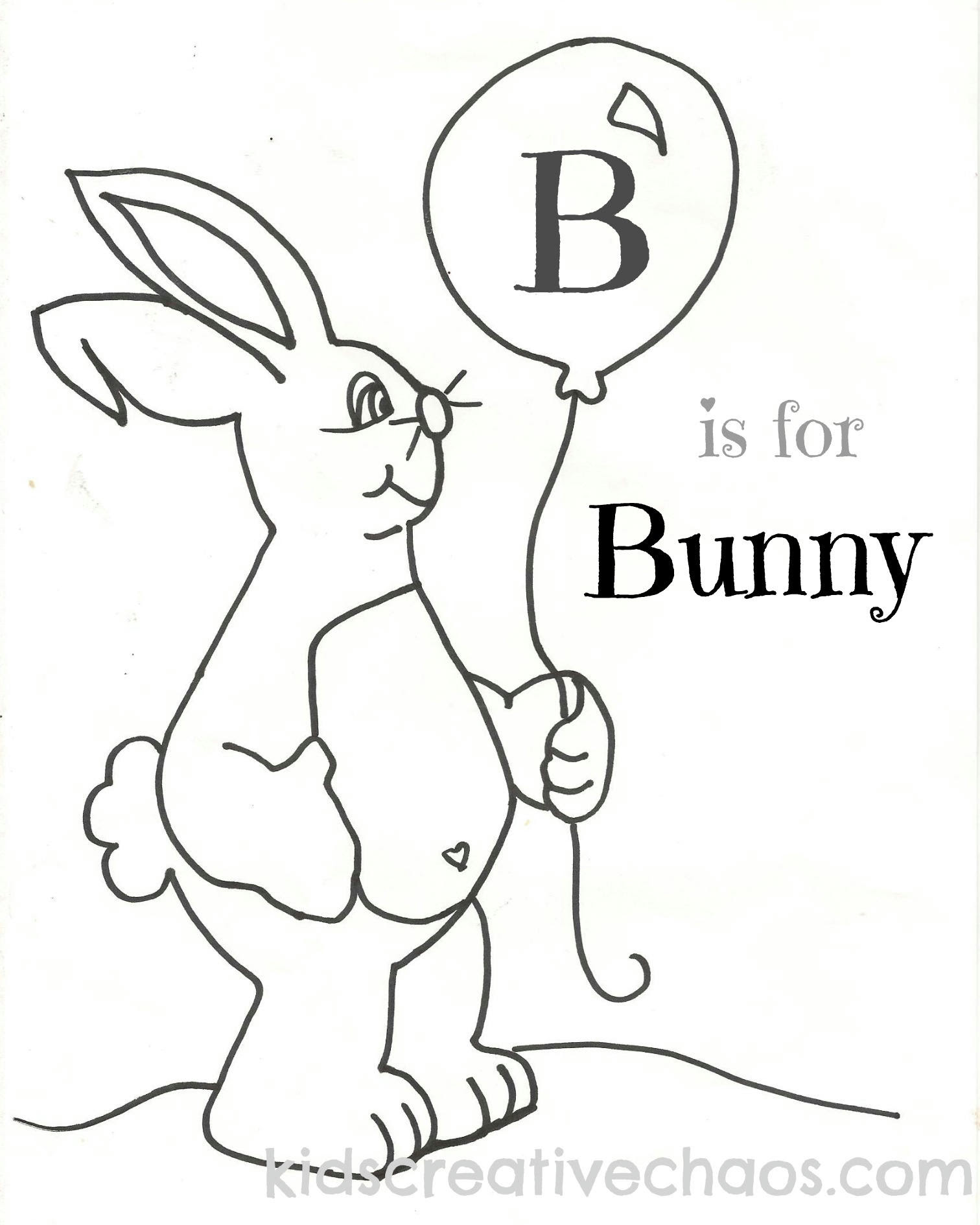 Letter B Coloring Sheets Pages Bunny Balloon for Easter