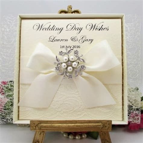 PERSONALISED BOXED LUXURY WEDDING CARD   LACE HANDMADE