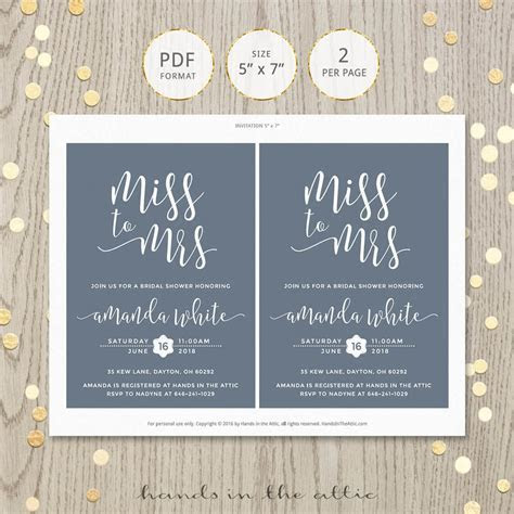 Miss To Mrs Bridal Shower Invitation   Hands in the Attic
