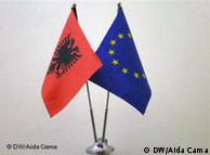 An Albanian and EU flag