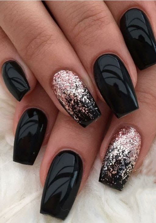 Short Coffin Black Nails