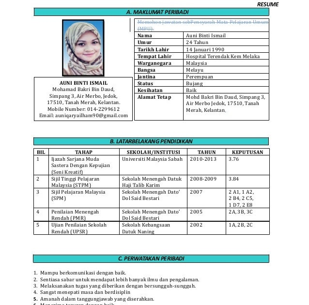 Contoh Resume Untuk Guru