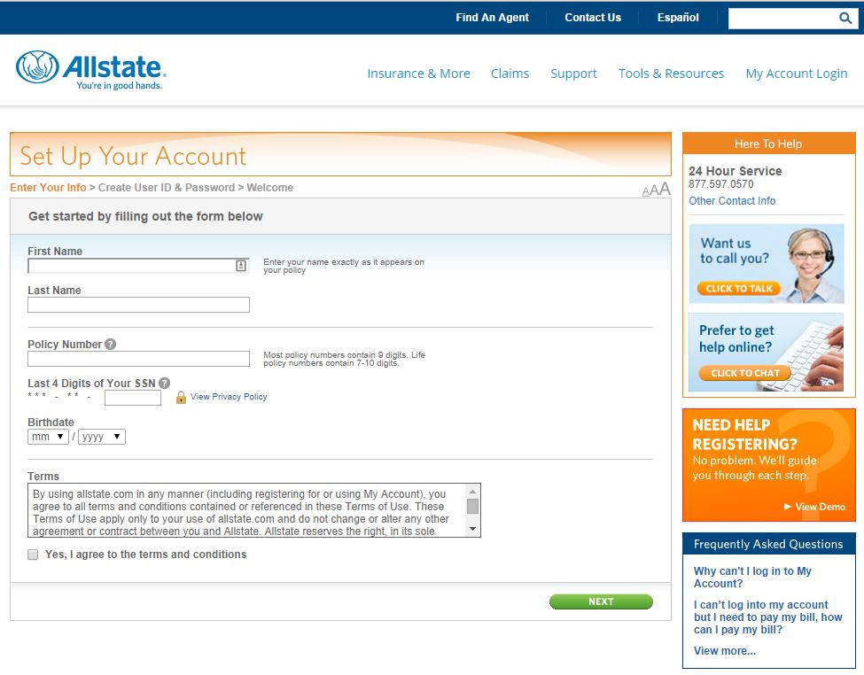 myaccount allstate com registration