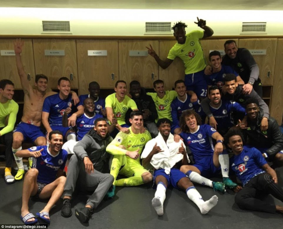 Chelsea players celebrate in the dressing room after the match in this photo posted on Instagram by Diego Costa