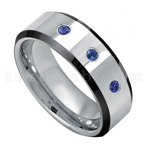 Men's 0.21ct Blue Sapphire Gemstone 3 Stone Wedding Band
