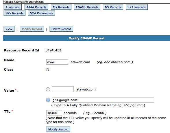 CNAME record 1 ghs google