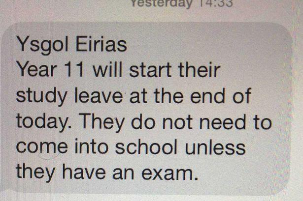 Thursday's text message to parents of Ysgol Eirias students