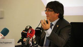 Carles Puigdemont durant la conferència a la ciutat belga de Hasselt, a Flandes (ACN)