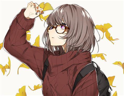autumn brown hair glasses leaves original purple eyes