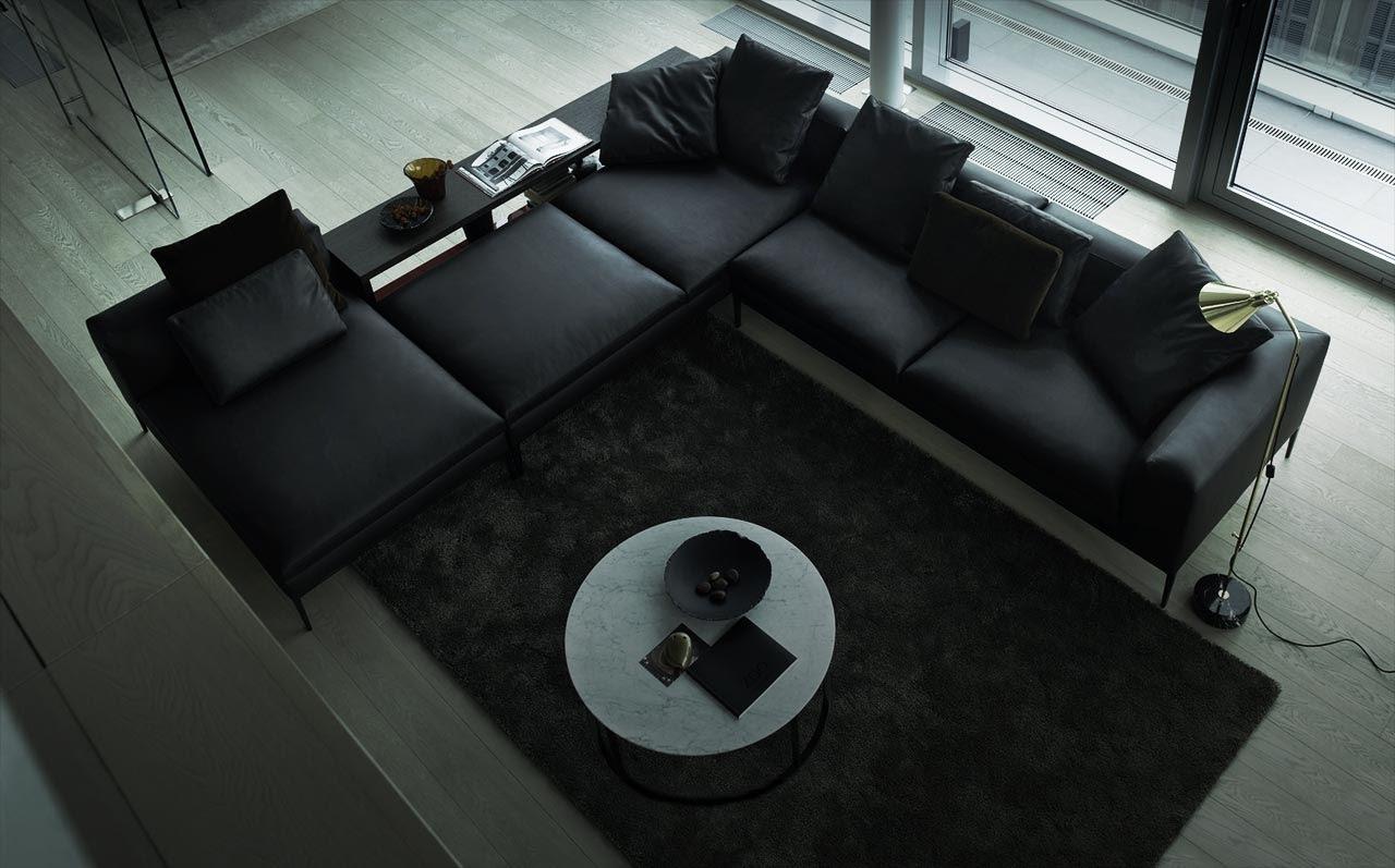 Black Leather Sectional Sofa Interior Design Ideas