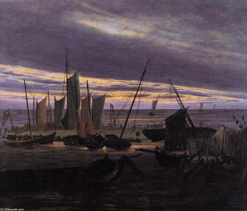 Barcos en el puerto en la noche (4), óleo sobre lienzo de Caspar David Friedrich (1774-1840, Germany)