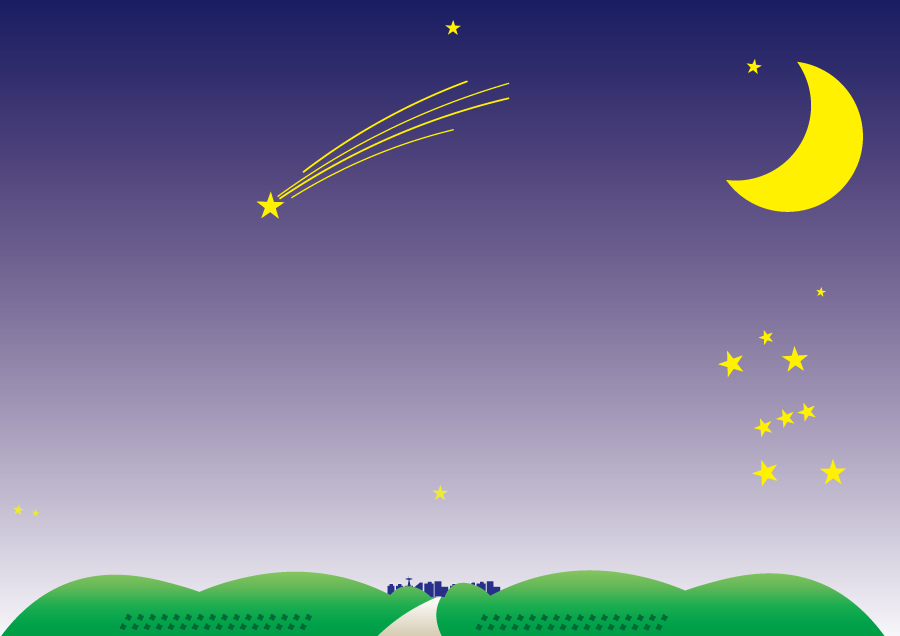 フリーイラスト 夜空の三日月と流れ星の背景でアハ体験 Gahag 著作