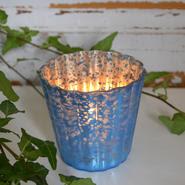 Ljuslykta med breda ränder - blå & silver