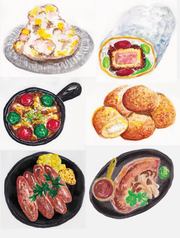 デリシャスデザイン制作実績 水彩画タッチの料理イラストとドリンク